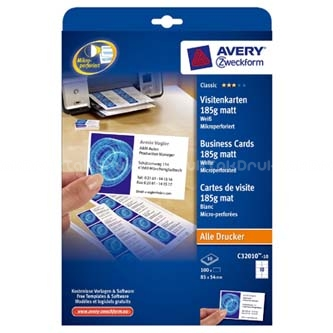 Avery Zweckform Wizytówki Z Gładka Krawędzią Kolor Biały Matowe A4 185 G M2 85x54mm 10szt A4 10 Arkuszy Do Drukarek Atramento